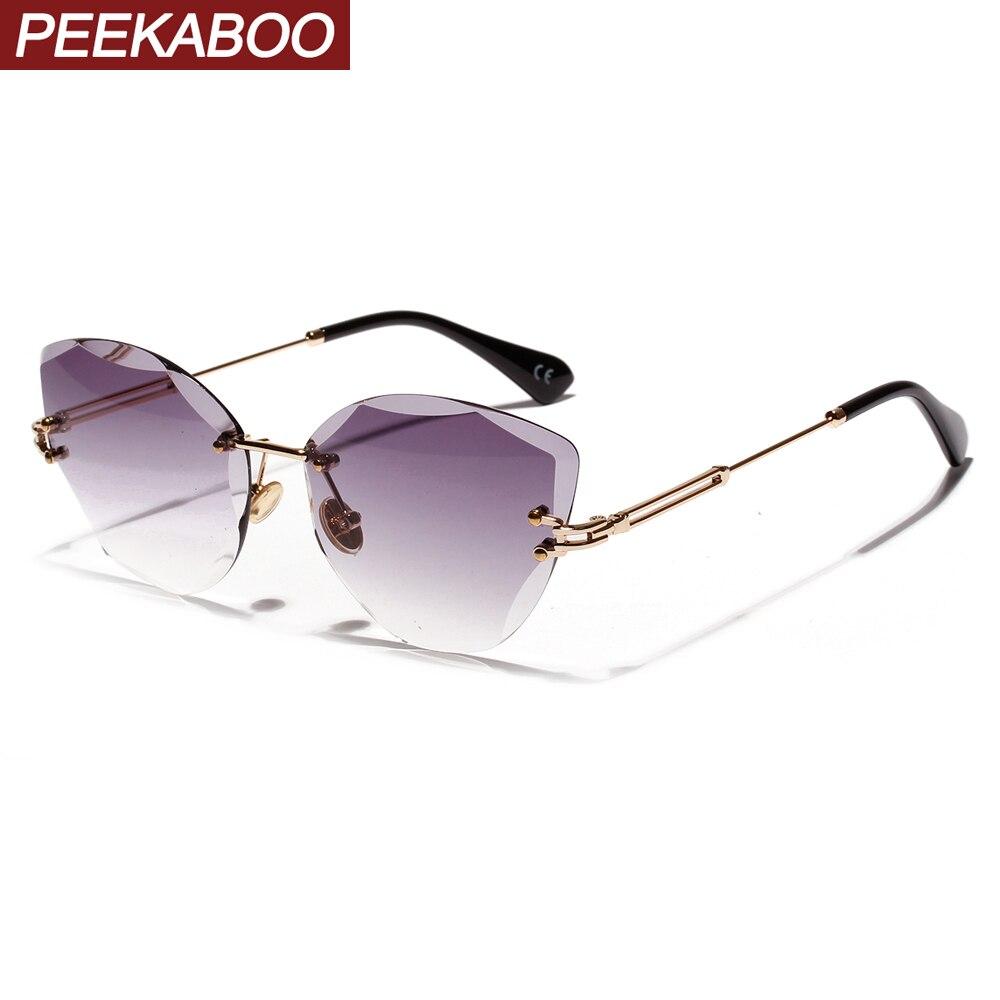 Peekaboo Blue Rimless Sunglasses Women Retro Summer Uv400 Frameless Cat Eye Sun Glasses Female Black Brown 2019 Summer