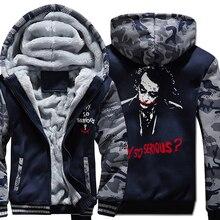 Joker Heath Ledger Hoodies Casual warum so ernst Mit Kapuze Mantel 2019 Winter Warme männer wolle liner Dicken Zipper Jacke Sweatshirt männlichen