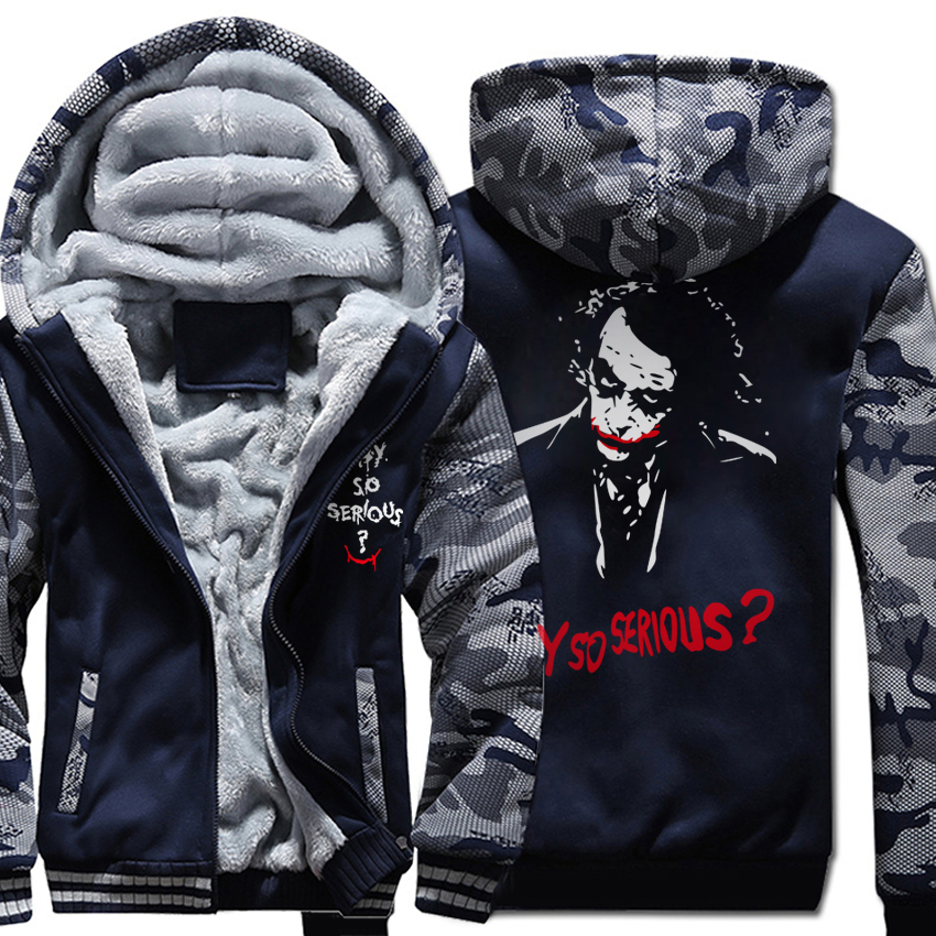 Joker Heath Ledger Hoodies Casual Why So Serious Hooded Coat 2019 Winter Warm Men Wool Liner Thick Zipper Jacket Sweatshirt Male