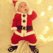 Рождественская Пижама, платье для маленьких девочек и мальчиков, Vestidos, комплект из 4 предметов, Рождественский топ с Сантой+ штаны+ шапка+ носки, комплект одежды, костюм