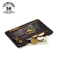 Teemzone Nueva RFID Unisex Genuino Superior de Cuero Suave Carpeta de La Moneda Simple ID Tarjeta de Crédito Titular de la Tarjeta Carpeta de La Moneda Negro K803