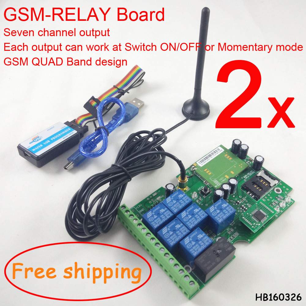 Free Shipping 2 Sets Free Shipping GSM 7 Relay Output Remotely Switch Control Board ON/OFF By Free Call Or SMS With App Support