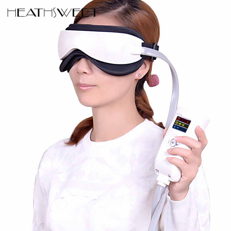 Healthsweet Music Electric Vibration Magnetic Air Pressure Infrared Eye Massager Machine Heating Massage Glasses Eye Care Device kiki new air pressure eye massager with mp3 6 functions dispel eye bags eye magnetic far infrared heating eye care