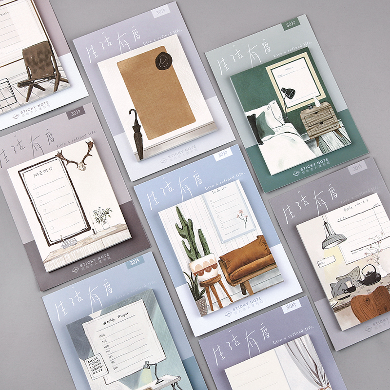 Live A Refined Life Series Sticky Notes Memo Pad Diary Stationary Flakes Scrapbook Decorative Cute Nordic Style N Times Sticky