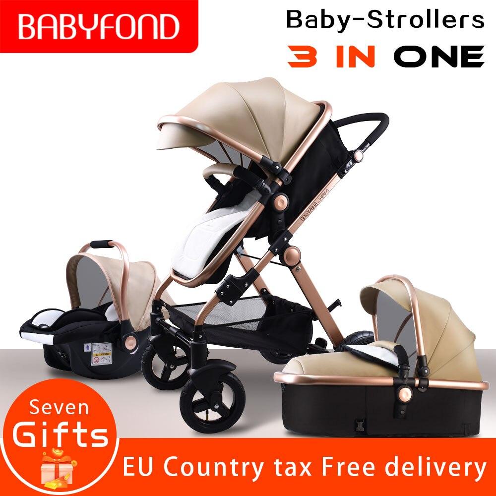 Cochecito de bebé de paisaje alto estándar europeo 3 en 1 con asiento de coche plegable para bebé 0-3 años Prams recién nacido
