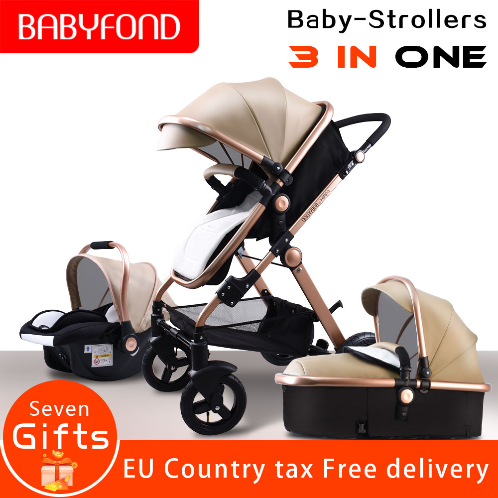 Golden baby EU standard  High landscape Baby Stroller 3 in 1 with Car Seat  Folding Baby Carriage 0-3 Years Prams newborn PramGolden baby EU standard  High landscape Baby Stroller 3 in 1 with Car Seat  Folding Baby Carriage 0-3 Years Prams newborn Pram