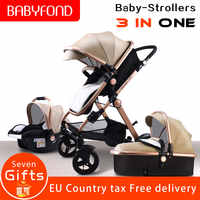 Golden baby EU standard  High landscape Baby Stroller 3 in 1 with Car Seat  Folding Baby Carriage 0-3 Years Prams newborn Pram