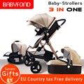Gouden baby EU standaard Hoge landschap Kinderwagen 3 in 1 met Autostoel Folding Kinderwagen 0-3 jaar Kinderwagens pasgeboren Kinderwagen