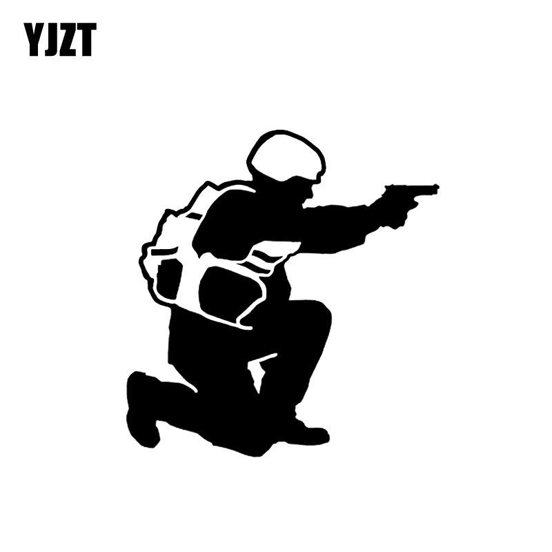 YJZT 13.7*14.3CM Sniper Rifle Shooting Silhouette Gun Car Sticker Vinyl High Quality Decoration Black/Silver C12-0352