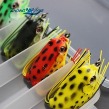 High Quality 5pcs 5colors 5.5g 4cm Topwater Frog Hollow Body Soft Fishing Lures  Bass Hooks Baits Tackle Set and Tackle Box