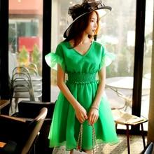 dabuwawa v collar dress 2016 summer short sleeved waist casual ruffle midi dresses chiffon women green light beige pink doll