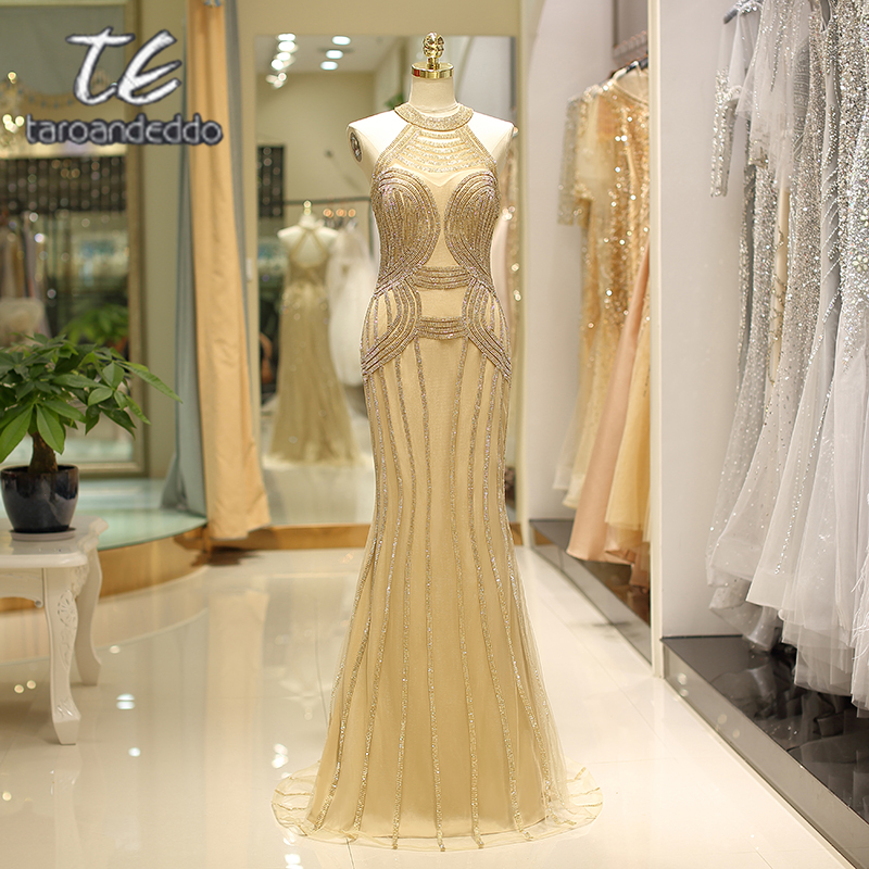 Halter Beading Gold Tulle   Prom     Dresses   Mermaid Illusion Zipper Back Long Evening Party   Dress