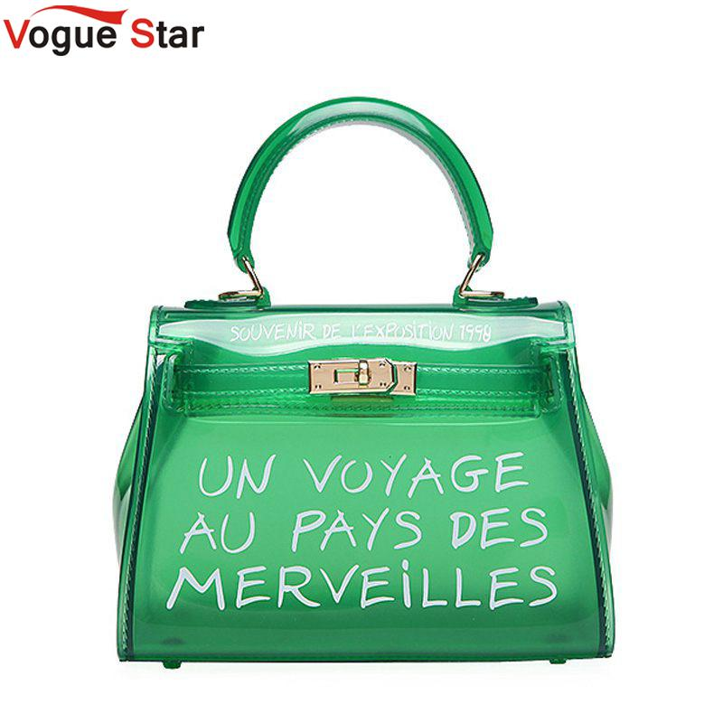 Women Pvc Handbags Fashion Ladies Clear Transparent Shoulder Bag With Letters Luxury Designer Small Crossbody Bags For Women