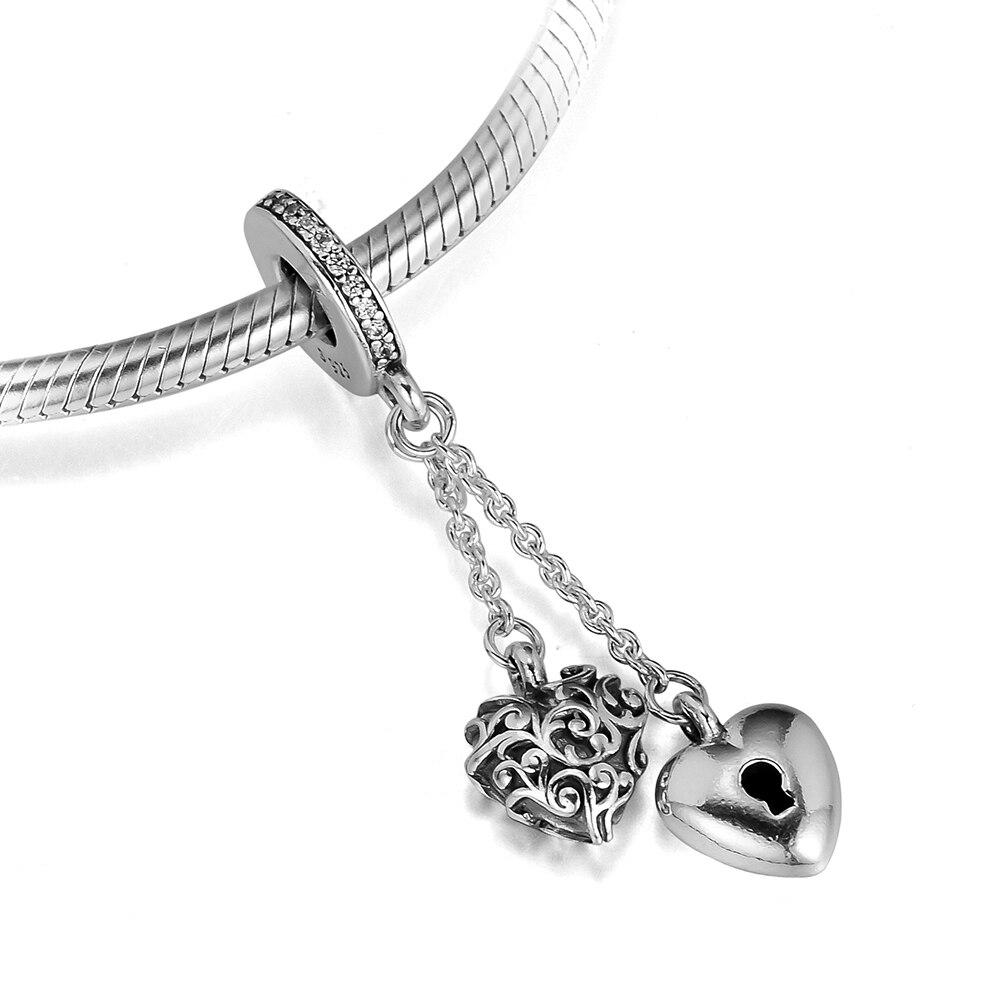 Anhänger Zielsetzung Diy Passend Für Pandora Charms Armbänder Lock & Herz Perlen Mit Klar Cz 100% 925 Sterling-silber-schmuck Freies Verschiffen Online Rabatt Edler Schmuck