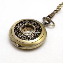 Antique Bronze mécanique montre de poche Steampunk bijoux alliage plat pendentif rond montres avec des chaînes pour hommes 435 mm