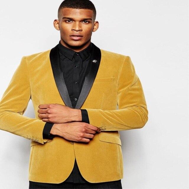 Новейший дизайн пальто брюки золотой желтый бархат шаль нагрудные мужской костюм Slim Fit 2 шт. смокинг жениха на заказ Выпускной Блейзер Terno ...