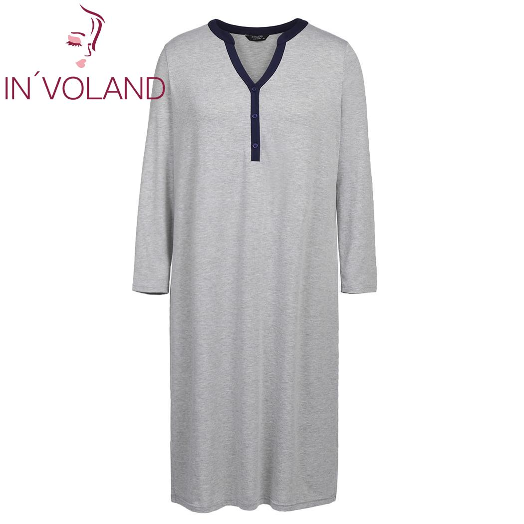INVOLAND Autumn Plus Size Sleepwear Casual V-Neck Elegant Solid Nightdress oversized Long Sleeve Loose Nightgown