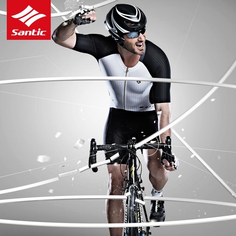 Santic hommes cyclisme rembourré Jersey ensembles une pièce extrême course Fit combinaisons élastique sec Cool italien tissu cyclisme costumes