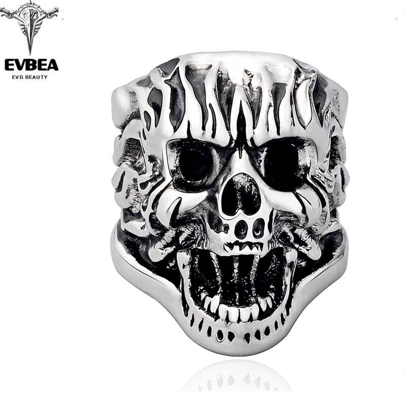 7017e737c77 Unicórnio De Prata Boho Gothic Punk Rock Crânio Ajustável Girando Grande  Festa Motociclistas Anéis dos homens Jóias