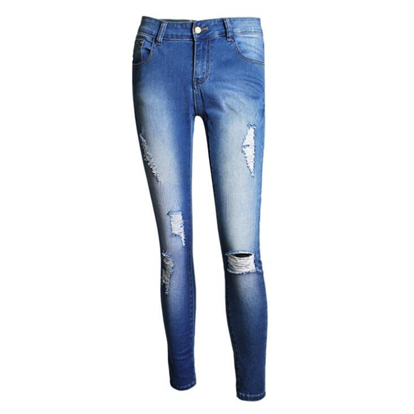 ФОТО high waist jeans woman 2016 hole Tight Hip Thin Feet Pencil pants High elastic Superior quality ripped jeans for women jeans