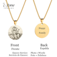 Engrave Monogram Name Plate Necklace Custom Tag Stainless Steel Pictures Photo Necklace Women Gift