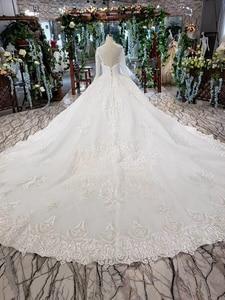 Image 2 - LS53710G lüks gelinlik uzun kollu o boyun aç geri balo elbisesi gelin giydirme abiye 2019 promosyon vestido de noiva