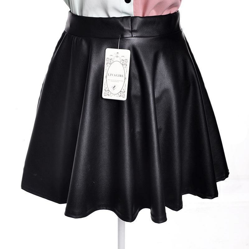 BomHCS New high waist leather skater flare skirt mini skirt above knee solid color skirt S