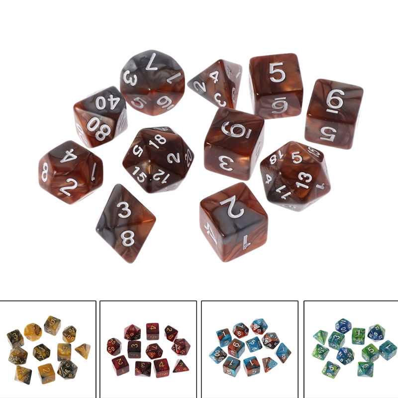 NoEnName_Null High Quality 11 Pcs D4 D6 D8 D10 D12 D20 Sided Dices For RPG DND D&D Set