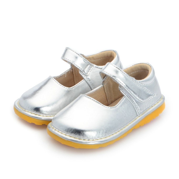 solid sliver baby girl wedding dress shoes toddler girl squeaky shoes size 3 4 5 6