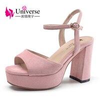 Universe Funky Platform Thick Heel Sandals Pink Kid Suede Leather Upper Buckle Strap Super High Heel