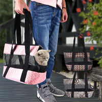 Small Pet Sided Carrier For Dogs Cats Travel Bag With Mat Folding Carrier Cage Collapsible Crate