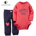 2 unids baby clothing baby girl body pantalones set kawaii recién nacido mono infantil de algodón de manga larga traje de los niños ropa de la muchacha