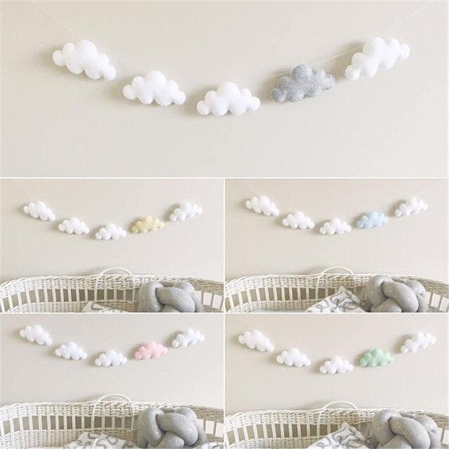 2 Set nuage guirlande enfant chambre décoration murale bébé hochet ...