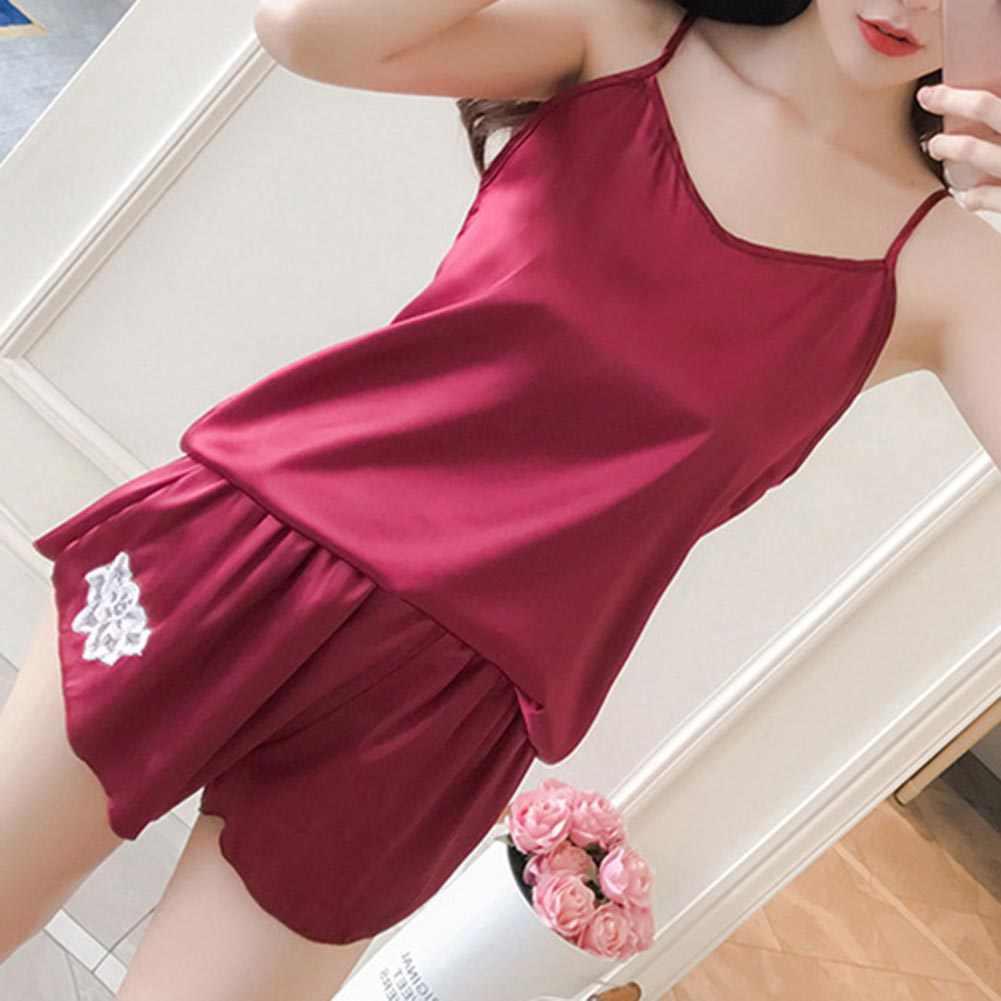 20d24b5a0f ... Women Clothes For Summer Shorts Sets Sleepwear Satin Pajama Cami Top + Shorts  Pajamas Spaghetti Strap ...