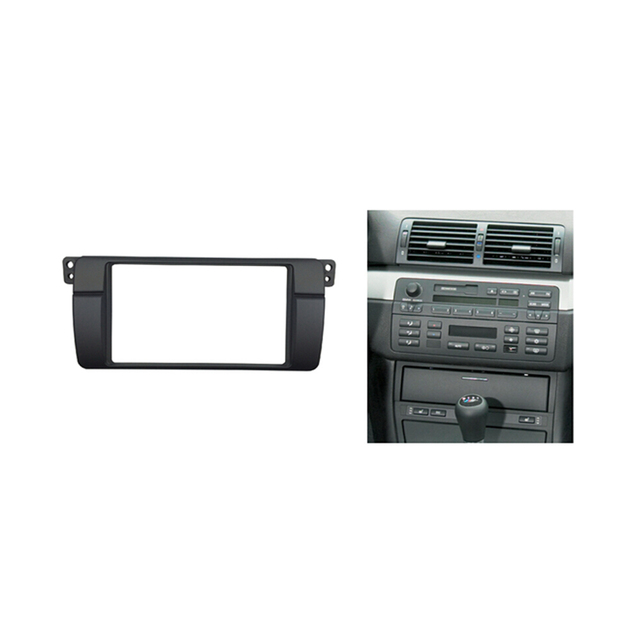 Double 2 Din Fascia For BMW 3 Series E46 1998-2005 Radio Stereo Panel Dash Trim Kit Frame Surround Plate Bezel