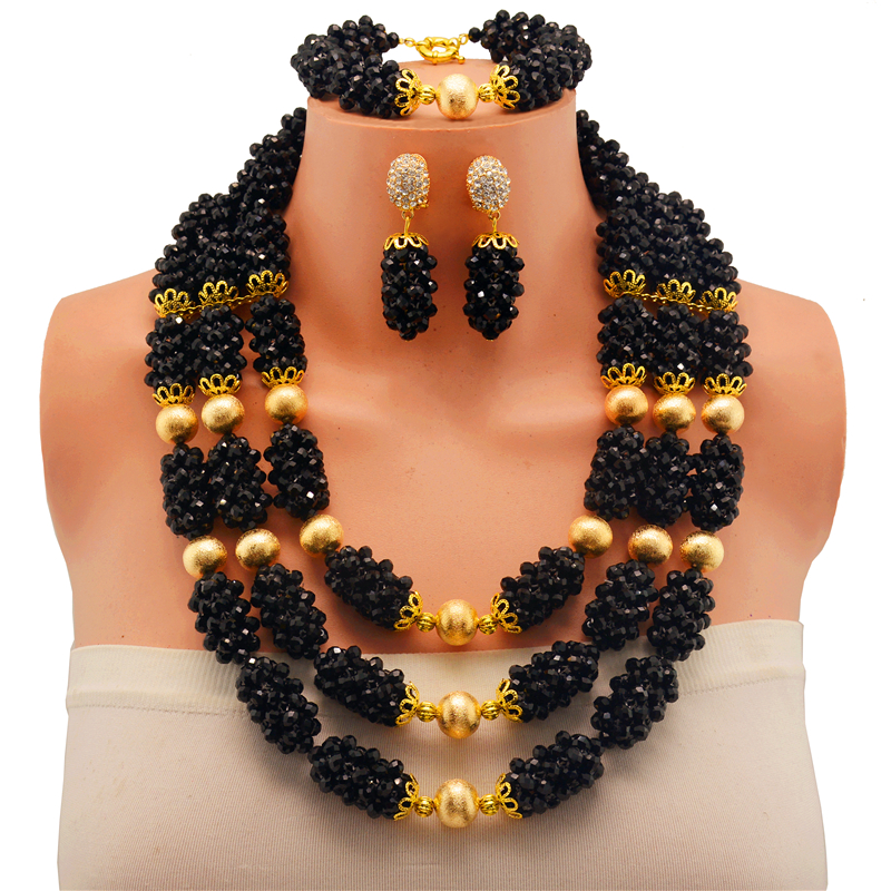 2017 Classic black wedding accessories nigerian wedding african bridal crystal beads jewelry set necklace earrings bracelet fashion white crystal beads necklace earrings bracelet nigerian wedding beads african jewelry set for women ddk014