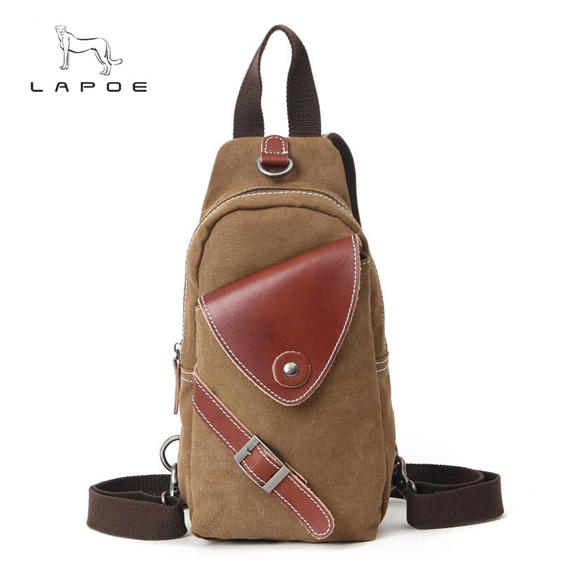 LAPOE new vintage fashion canvas men bag designer handbags high quality men messenger bags Chest pack bag crossbody high quality men canvas bag vintage designer men crossbody bags small travel messenger bag 2016 male multifunction business bag