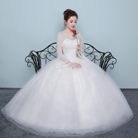 Wedding Dress Lace Up 2019 New Bride Ball Grown Wedding Dresses Red White Full Sleeves Plus Size
