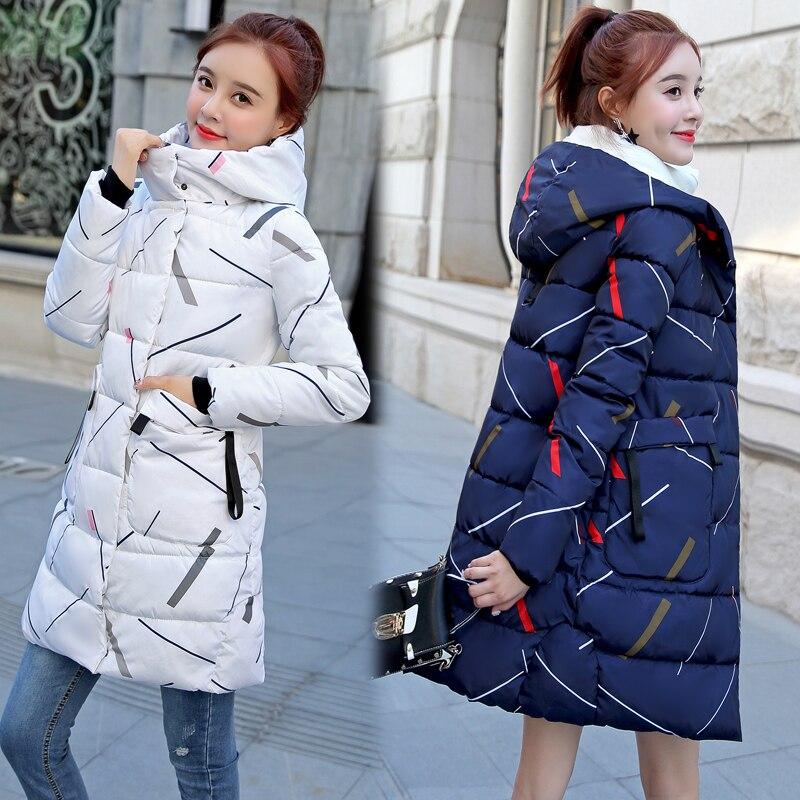 ALMUERK 2018 Pattern Winter Long Jacket Women Hooded Fur Parka Oversize Slim Waist Plus Size Coat Hoody Thick Warm Plus Size