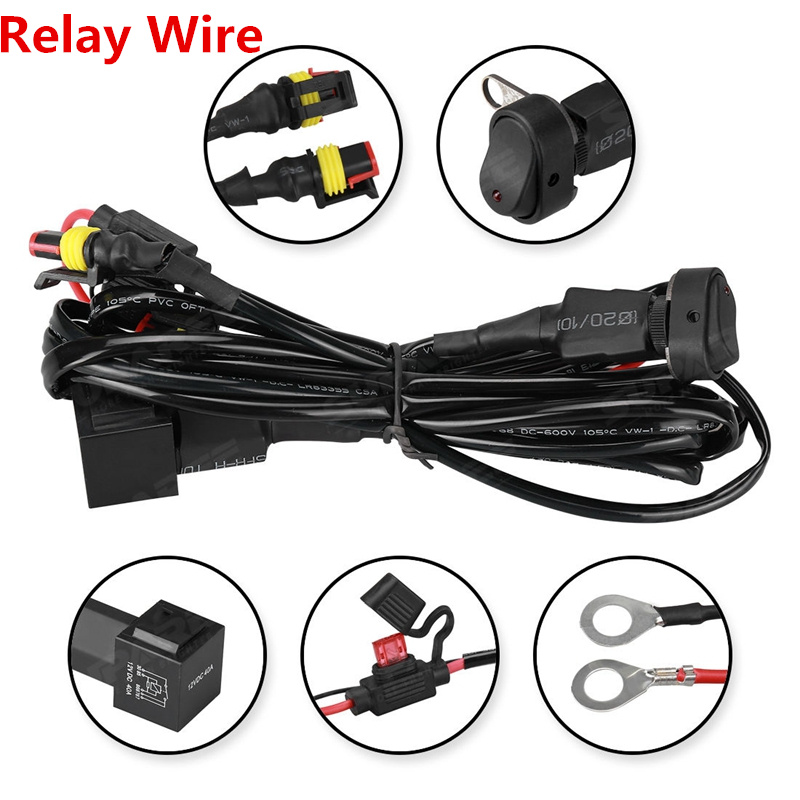 Motorcycles Led Fog Light Wiring Harness Relay Wire For