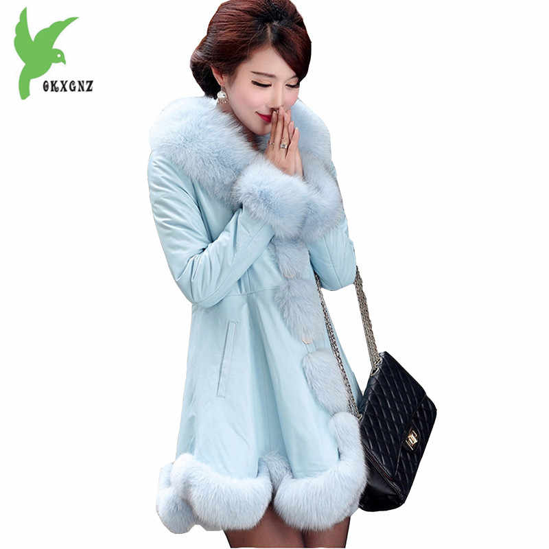 Boutique Mới Thời Trang Mùa Đông Phụ Nữ Nhân Tạo Da Áo Khoác Giả Con Cáo Lông Big Fur Collar Cộng Với Kích Thước Áo Khoác Khí OKXGNZ84