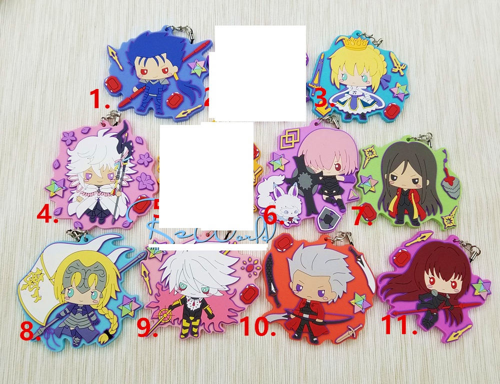 New Arrival 9pcs lot Fate Grand Order FGO Original Japanese anime figure rubber mobile phone charms