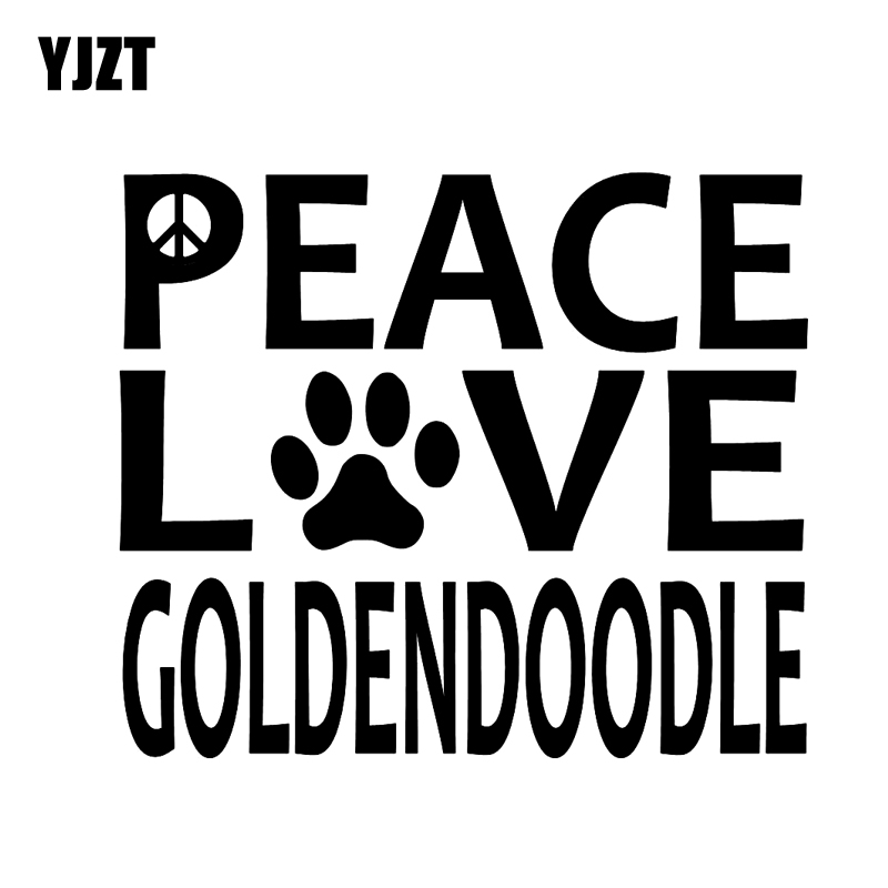 Yjzt 15.2cm*12.8cm Peace Love Goldendoodle Vinyl Sticker Decals For Dog Footprints Black/silver C10-00178 Bracing Up The Whole System And Strengthening It Automobiles & Motorcycles