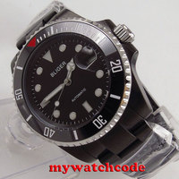40mm Bliger esfera negra PVD cerámica bisel zafiro vidrio automático para hombre reloj