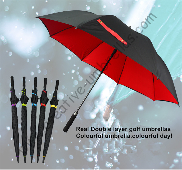 buy 3pcs get 1 free straight golf umbrellas.real double layers fabric fiberglass frame,auto open Pongee,anti-thunder,,anti rust