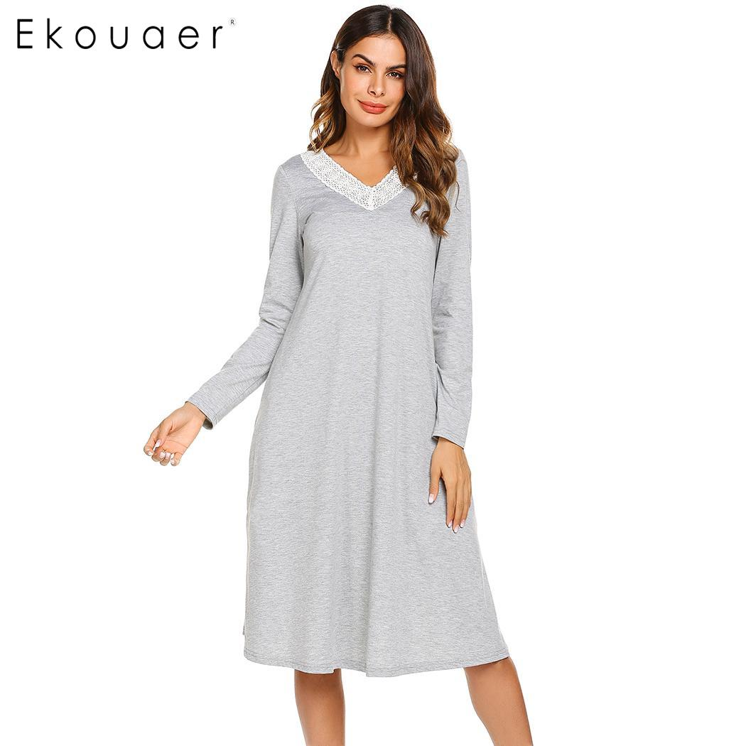 Image 2 - Ekouaer Nightgowns Sleepshirts Long Sleeve Sleepwear Casual Women Lace V Neck Loose Long Nightdress Nightgown Home Dress Autumn-in Nightgowns & Sleepshirts from Underwear & Sleepwears