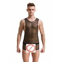 Fashion Brand Black Plaid Fishnet Man Sexy Bodybuilding Funny Sheer Tank Tops Mens Underwear Boxers