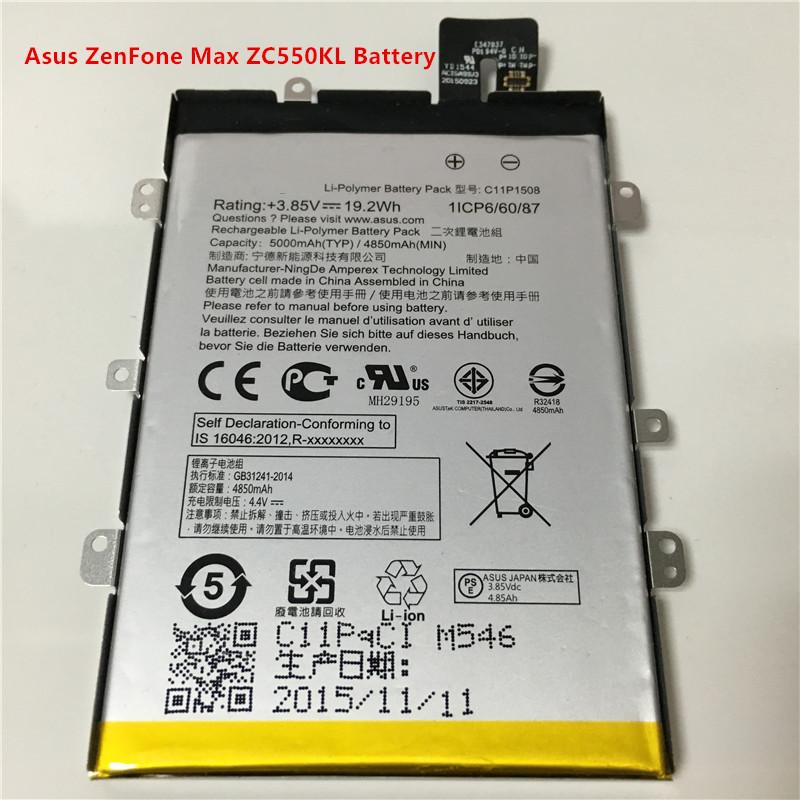 3.85V 5000mAh 1ICP6/60/87 C11P1508 For Asus ZenFone Max ZC550KL Battery