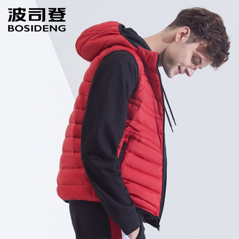 BOSIDENG  New Down Vest For Men Down Waistcoat 90% Down Jacket Sleeveless Hooded With Hat High Quality Outwear B80131003
