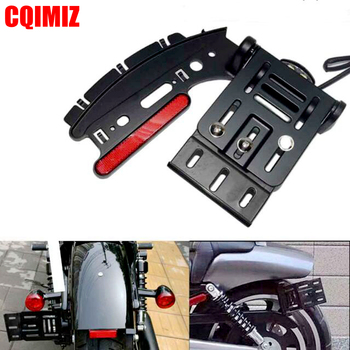 Motorcycle Telescopic Folding LED Tail Light Side Mount License Plate Holder For Harley Dyna Sportster 883 1200 XL 04-16